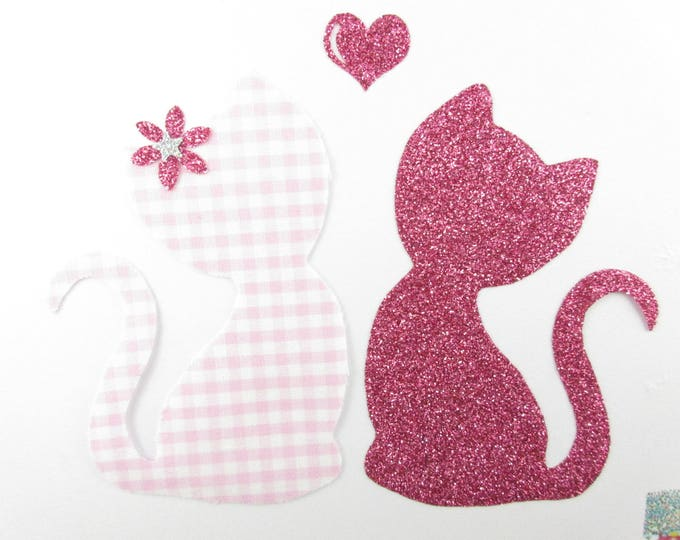 Applied fusing cats in love gingham fabric and pink glitter iron on patch fusing liberty cat appliques patches iron on