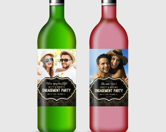 Custom Photo Wine Bottle Label for Engagement, Rehearsal Dinner, Wedding or other Party - Printable PDF