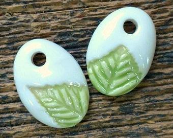 Ceramic Beads, Ceramic Charms, Ceramic Pendants, Leaf Beads, Leaf Charms, Leaf Pendants, Ceramic Pendant, Green Charms, Leaf Earrings