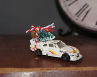 Altered, Vintage, Corgi, White, Porsche, Toy, Collectible, Car, With Christmas Tree, Christmas, Ornament, Decoration, Stocking Filler, Gift