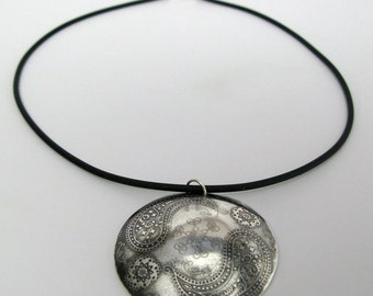 Sterling Silver Paisley Dome Necklace