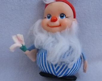 Vintage Mid Century Santa's Elf with Paint Brush Ornament  HO671
