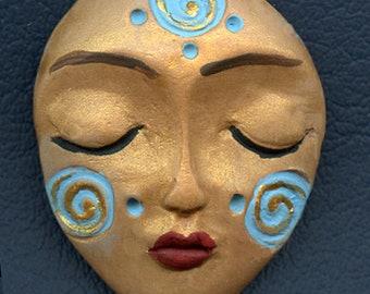 Spirit Doll Face  Polymer Clay  Tribal  Art Doll  Face  Cab  SD 7