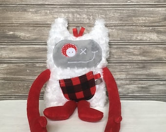 Hug Monster plushie, handmade plush toy, grey and red with plaid print pocket, friendly monster for kid, unique  birthday gift, ready to go