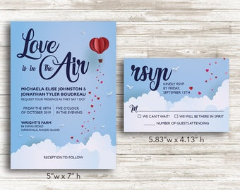 """Paper """"Love is in the Air"""" Wedding Invitations and RSVP Cards with Envelopes"""