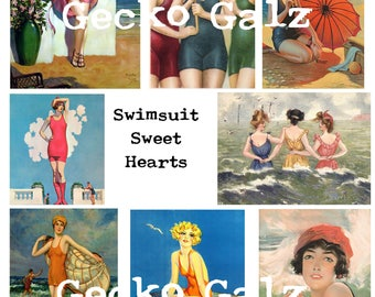 Swimsuit Sweet Hearts Digital Collage Sheet