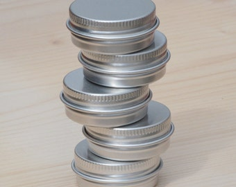 Small Metal Tins, Blank Round Silver Color, 30ml Screw Lidded Tin Box, DIY Container, DIY Storage