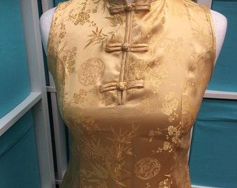 Pale gold cheongsam dress - Size S