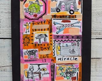 Collage, Children's Decor, Mixed Media, Folk Art,Outsider, Original Art,Framed