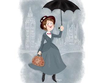 Mary poppins print - illustration
