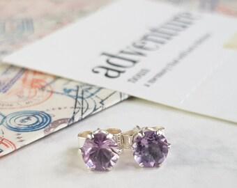 Amethyst and Sterling Silver Stud Earrings