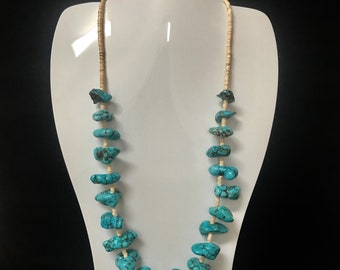 """Navajo made Silver & Kingman Turquoise nugget necklace 22"""" long. Free ship in USA"""