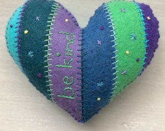 Be Kind heart ornament (blue/purple)