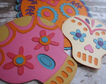 Calaveras Die Cuts, Skulls, Paper Crafted, DIY or Ready Made, Dia de los Muertos Decorations, Party Favors, Banners, Cards, Invitations
