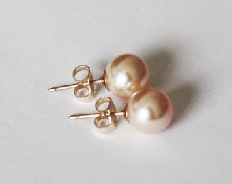 6mm, 8mm Peach Swarovski pearl stud earrings - 14K Gold filled- Peach pearl studs- Bridesmaid earrings- Wedding earrings - Champagne studs