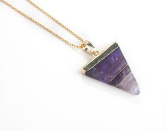 Amethyst Triangle Necklace-amethyst pendant, triangle necklace, layering necklace, ball chain, gold necklace, pendant