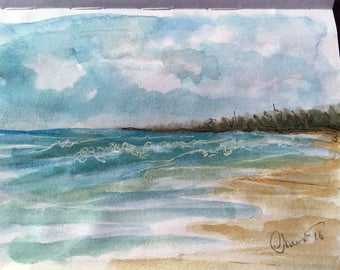 Watercolor Beach, Watercolor Seascape, Limited Edition Fine Art Print, Loose Watercolor, Beach view Painting, Beach Scene, Ocean Painting