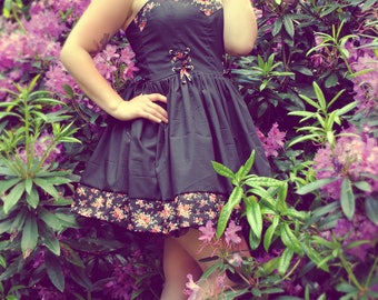Black cotton dress and floral details, lacing - pinup / retro - all sizes