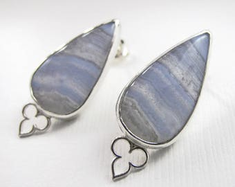Blue Lace Agate and Sterling Silver Earrings Post Earrings Gemstone Earrings Tear Drop Blue Lace Agate Earrings