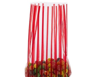 Mothers Day Sale 20 Pack Red Stripe Clear View Poly Bags 3.5 X 2 X 7.5 Inch Size