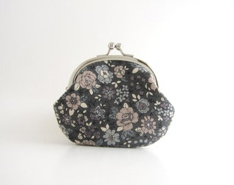 Frame Coin Purse - Floral in Grey
