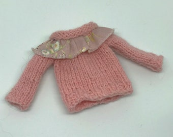 BLYTHE DOLL Pastel Pink Shabby Chic Hand Knitted Sweater Blythe and Icy Dolls