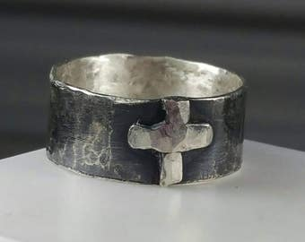 Men's Wide Band Cross Ring Sterling Silver Oxidized Silver Cross Ring Religious Women's Thumb Ring Faith Cross Jewelry Maggie McMane Designs