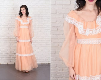 Vintage 70s Peach Maxi Lace Dress Floral Sheer Sleeve Boho XS 11098