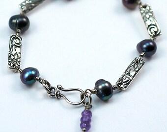 Raven's Wing Pearl and Amethyst Silver Link Bracelet, Freshwater Pearl Bracelet, Sterling Silver Floral Link Bracelet, Ready to Ship