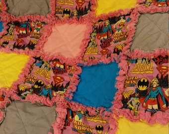 Superhero Rag Quilt - Supergirl - Wonder Woman - Batgirl Superhero Rag Quilt - Girls Superhero Rag Quilt