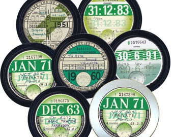 British Tax Discs. Reproduction coasters