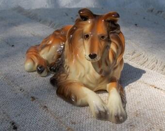 Vintage Collie Dog Figurine Made in Korea