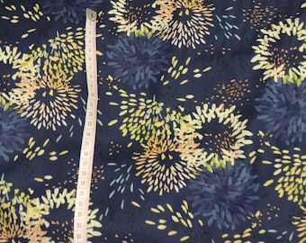 Fabric cotton blue pattern sunflowers