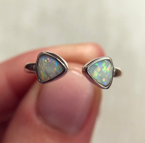 """Sterling silver """"Aria"""" ring with Australian crystal opals SZ 6"""