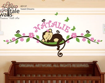 Monkey wall decal on blossom tree branch with name,birds and butterflies for nursery, kids room.