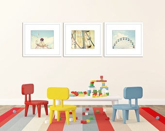 toddler boy art, set of 3 prints, pirate wall decor, ferris wheel prints, blue and yellow art, wall art photos, nursery decor, baby boy room