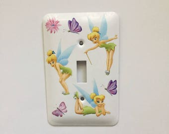 Beautiful Tinkerbell Light Switch Cover, Child's Room, Nursery, BabyGift, Butterflies, Flower