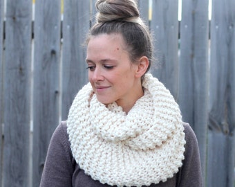 Cozy Infinity Scarf in Off White Fisherman- Off White Soft and Cozy Warm Scarf