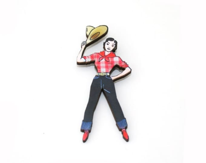 Cowgirl Brooch, Wooden Lady Brooch, Cowgirl Illustration, Rodeo Brooch, Wood Jewelry