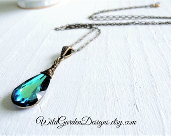 The Sea Crystal Pendant Blue Green Crystal Drop Wire Wrapped Crystal Long Brass Necklace Boho Style Bermuda Blue Swarovski Crystal Pendant