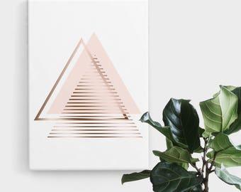 Blush Rose Gold Triangle Print, Print Art, Geometric Art, Abstract Art, Scandinavian Print, Minimalist Art, Digital Art, Printable Art