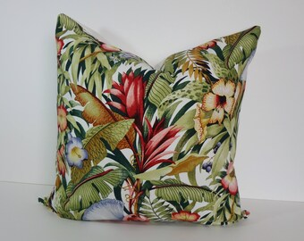Tropical Decorative Designer Pillow Cover, Green, Red Floral Pillow Cushion, 22 x 22, Tropical Forest