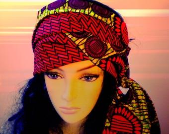 Green Orange African Head Scarf, Green Red Purple African Head Scarf, Reversible African Head Scarf, Green Orange African Head Wrap