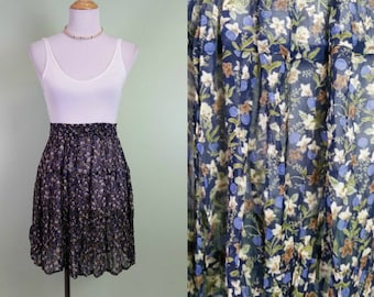 1990s Ditsy Floral Rayon Mini - Navy Blue - Elastic Waist -Sheer - XS Small Medium