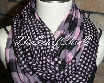 Pink Black Plaid Dot Print Infinity Scarf Chunky Circle Loop Scarf-Accessories-Fall Winter Scarf-Womens Gift-Accessories