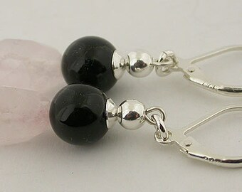 Rose Quartz Black Onyx Sterling Silver Lever Back Earrings