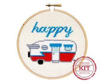 Happy Camper DIY Cross Stitch Kit
