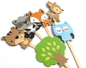 Woodland Animal Cupcake Toppers Set of 12 / Woodland Baby Shower Paper Forest Animal Cupcake Topper Forest Cupcake Topper Fox Squirrel Owl