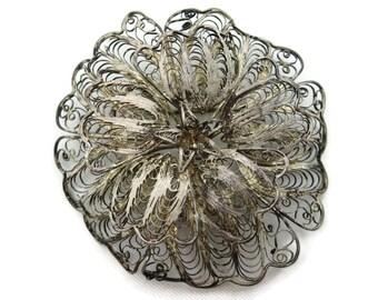 Silver Filigree Flower Brooch - Vintage Mexico