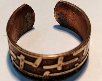 Adjustable Brass Etched Flamed Ring